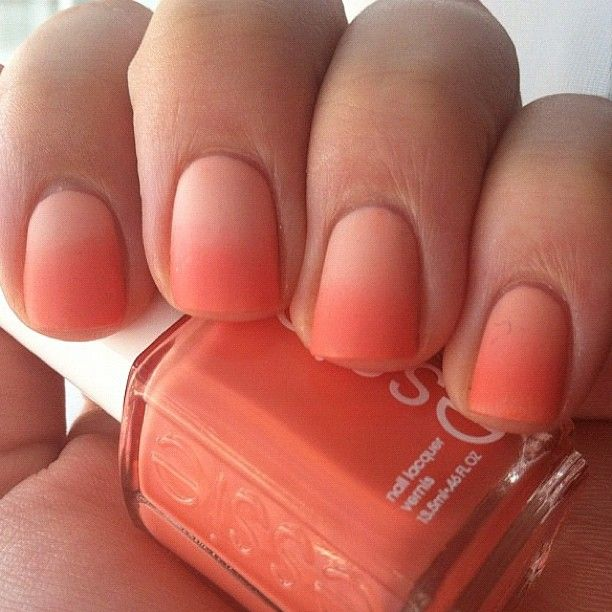 """Ombre Nails: Used Essie """"Tart deco"""" and """"A crewed interest"""" Normally I don't pin nail art, but this one is pretty cool for summer :-)"""