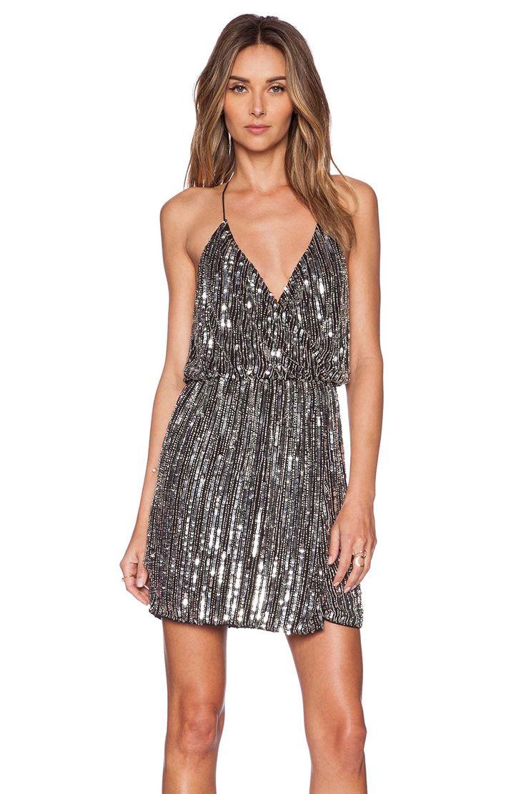 Parker Black Catarina Sequin Dress in Silver