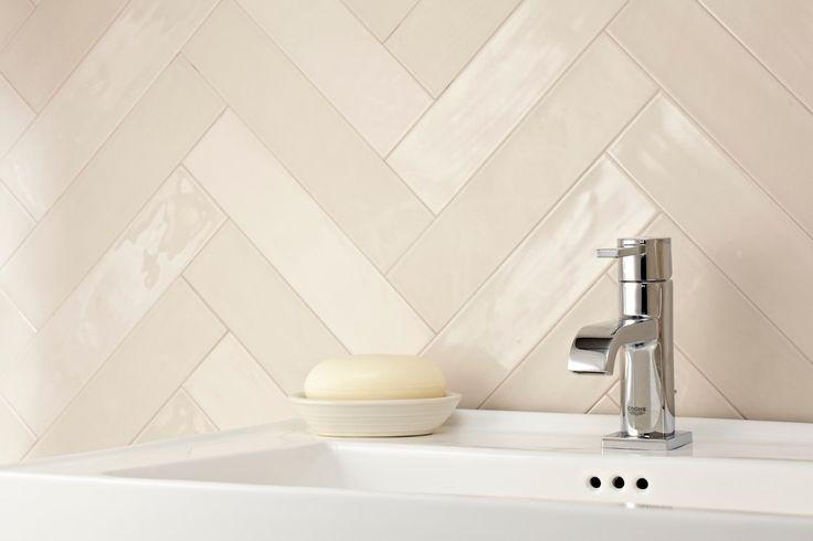 Powder room tile backsplash google search powder room for Small bathroom herringbone tile