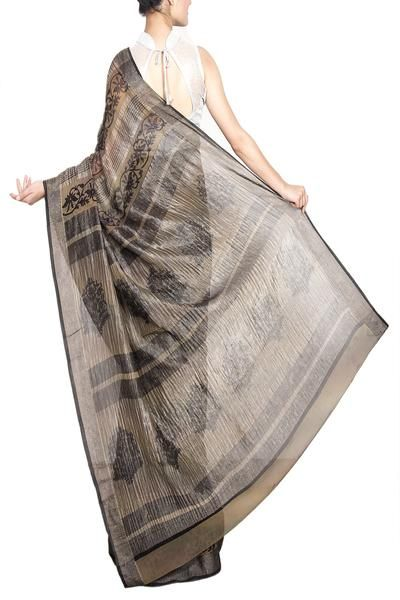Dark Brown Banarasi Georgette Saree
