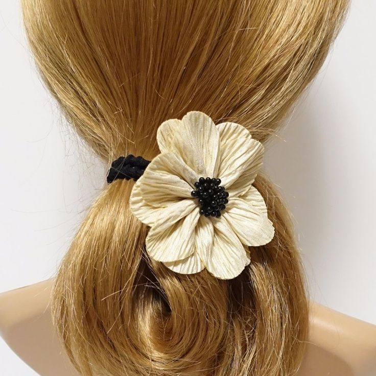 Handmade Wrinkle Petal Pistil Flower Hair Elastic Ponytail Holder  #VeryShine #PonytailHolders #Casual