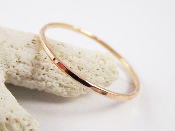 Rose Gold Stackable Ring Hammered 14k 18g Rose Gold Filled