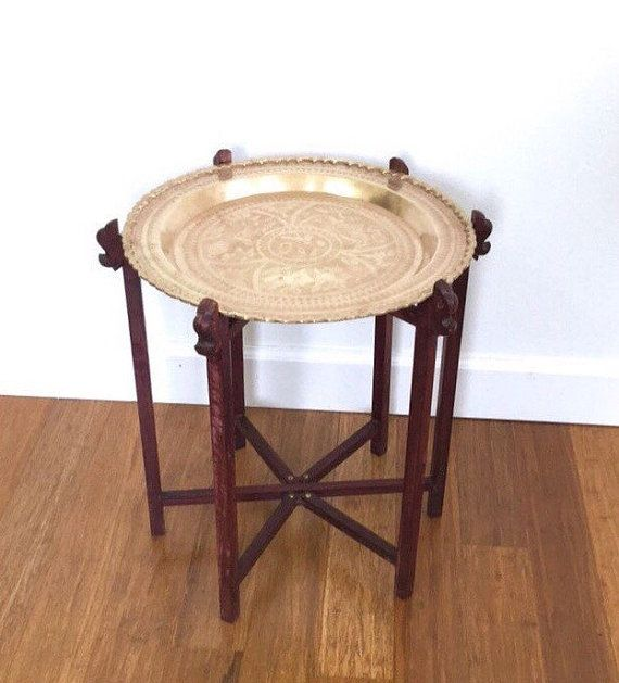 Brass Tray Side Table, Carved Asian Folding Table, Vintage Bohemian Home, Global Style, Elephant Carvings