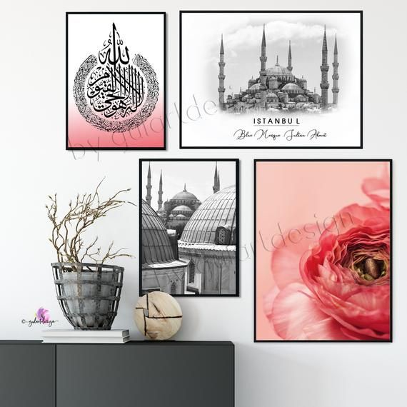 Islam, decoration, islamic wallart, islamicquotes, Istanbul, Blue Mosque, Blue Mosque, Turkey, Orient, wall paintings, Mosque, Ayatalkursi