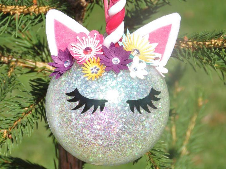 Boule de Noël licorne