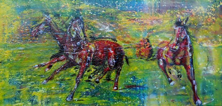 """Relief Bild Winter Schlitten Pferd Eis Expressionismus Hajewski rot gelb grün,  """"Slight party"""" Hajewski Gc, Reliefbild (eine Skulptur auf Leinwand)  Mix: Öl, Acryl, kanvas - Leinen rein, Größe:25x50cm, mit Fixativ überzogen."""