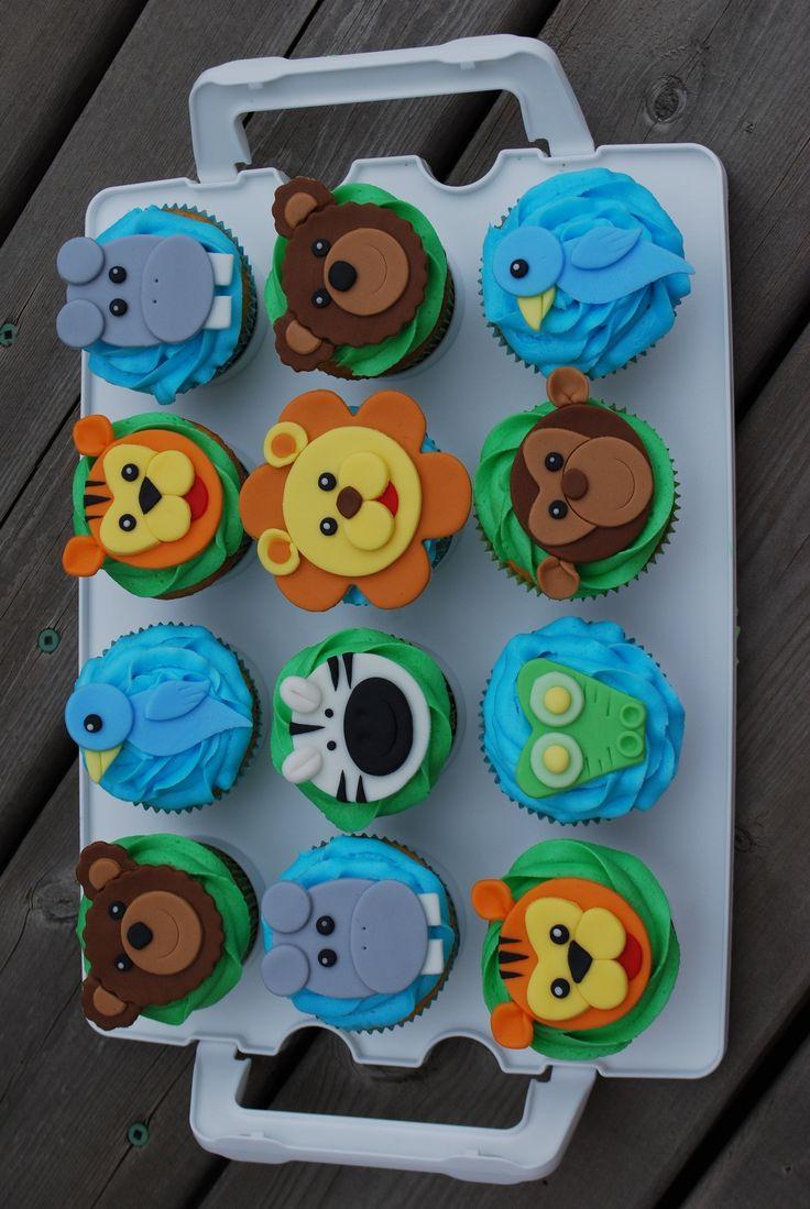 Zoo cupcakes monkey, bear, bird, hippo, lion, zebra, croc, tiger