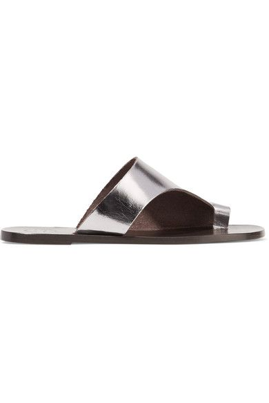 ATP Atelier - Rosa Cutout Metallic Leather Slides - Silver - IT38