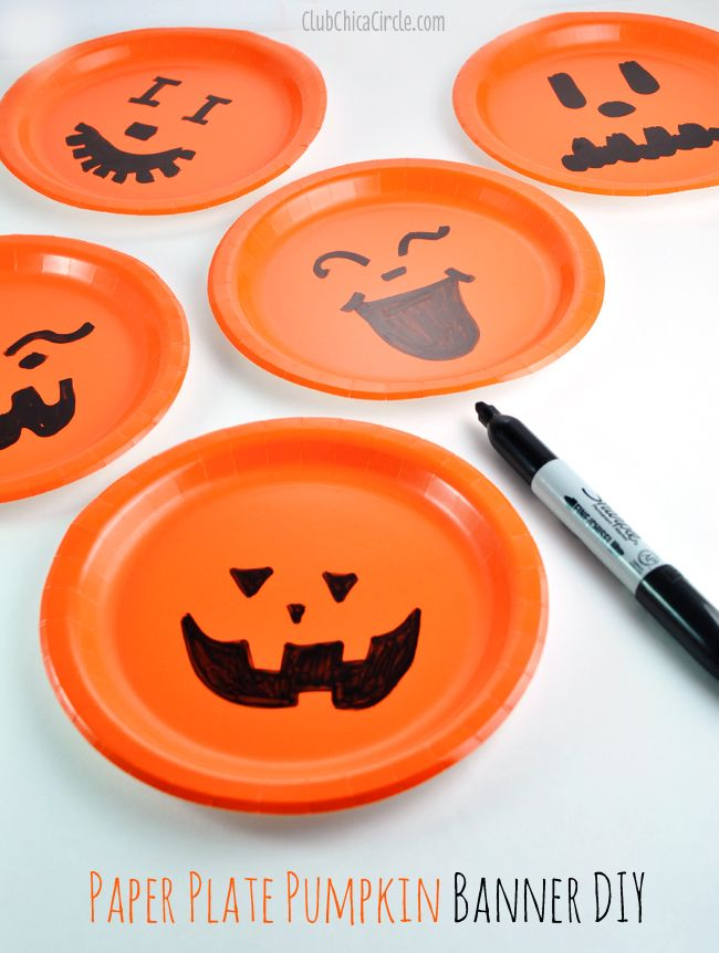 Paper Plate Pumpkin Bunting Banner Easy Craft Idea by Club Chica Circle.