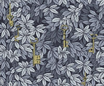 Chiavi Segrete (97/4047) - Cole & Son Wallpapers - Mysterious bronze keys suspended within a dense privet hedge. Allover leaf design shown in shades of slate grey. Paste the wall. Pattern repeat 57cm. Wide width. Please request sample for true colour match.
