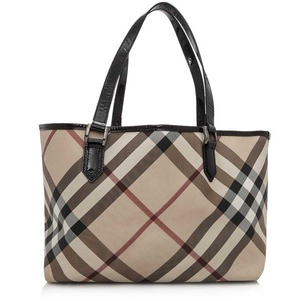 Pre-owned Burberry Tote ($610) ❤ liked on Polyvore featuring bags, handbags, tote bags, beige, brown handbags, handbags tote bags, brown tote bags, burberry tote bag and burberry purses