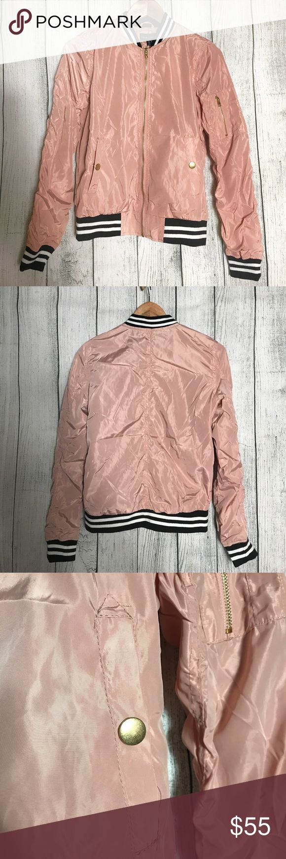 New Look Bomber Jacket Brand new jackets with zipper accent on left arm. Elastic striped B&W hems and collar. Materials on last photo. New Look Jackets & Coats