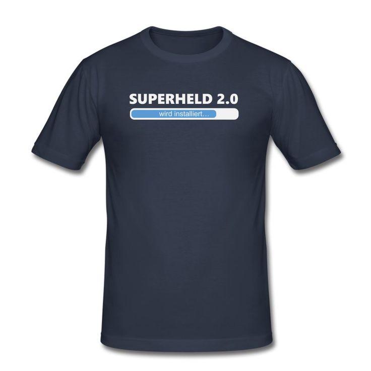 T-Shirts, Langarm-Shirts, Kapuzenpullover und andere Produkte mit dem 'Installiere Superheld 2.0 - weiss/blau' Design