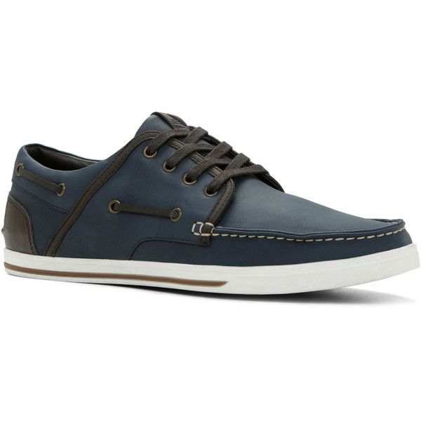 Sneakers ($28) ❤ liked on Polyvore featuring men's fashion, men's shoes, men's sneakers, navy, mens leather deck shoes, sperry top sider mens shoes, mens deck shoes, navy blue mens shoes and aldo mens shoes