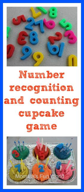 Number recognition and counting playdough play. Put candles in playdough cupcakes, count them and then match the correct number to the candles.
