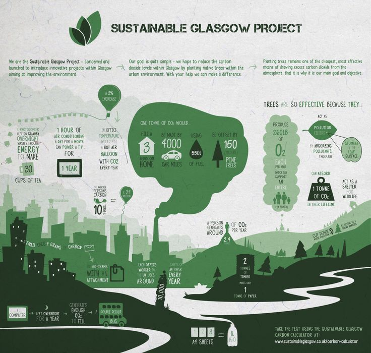 Our infographic which illustrates how planting native trees within an urban environment can reduce carbon dioxide levels. www.sustainableglasgow.co.uk