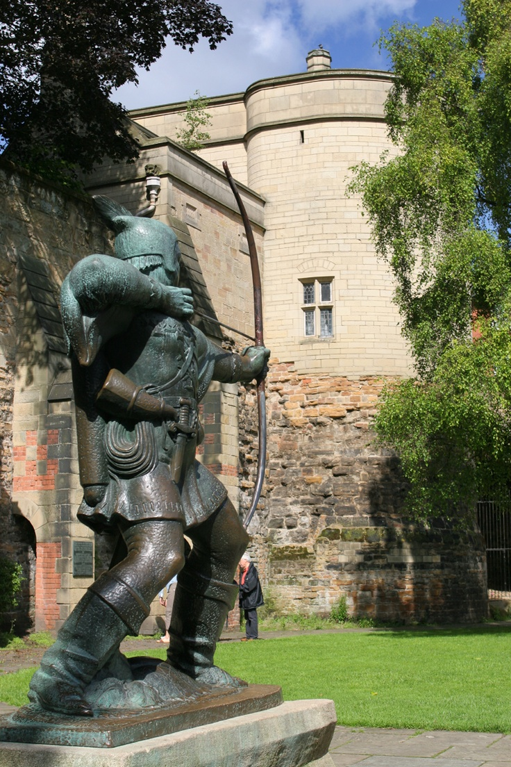 Nottingham Castle, UK and the statue of Robin Hood.  I  love the address - Friar Lane, Maid Marian Way, Nottingham. Lots of info here....