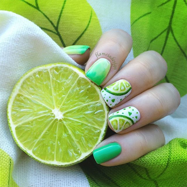 Lime Nails by Instagrammer @flameiadesign                                                                                                                                                      More
