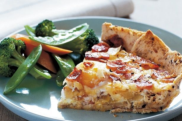 Bacon and Egg Pie-----Packed with veggies, this pie makes a simple yet satisfying mid-week meal.  Nutrition:: Energy: 1618kJ, Fat saturated: 6.80g,   Fat Total: 16.80g, Carbohydrate sugars: None,  Carbohydrate Total: 23.70g, Dietary Fibre: 2.70g, Protein: 33.70g, Cholesterol: 237.00mg, Sodium: 1041.00mg. Preparation: ):15, Cook: 0:30, Ingredients: 8, Difficulty: Super Easy, Serves: 4, Rating: 4/5 stars.