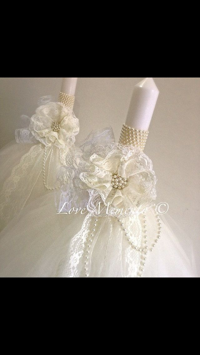 Vintage lace pearl wedding Candle