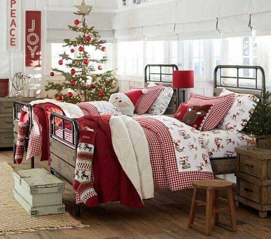 Red and white holiday bedding from Pottery Barn Kids
