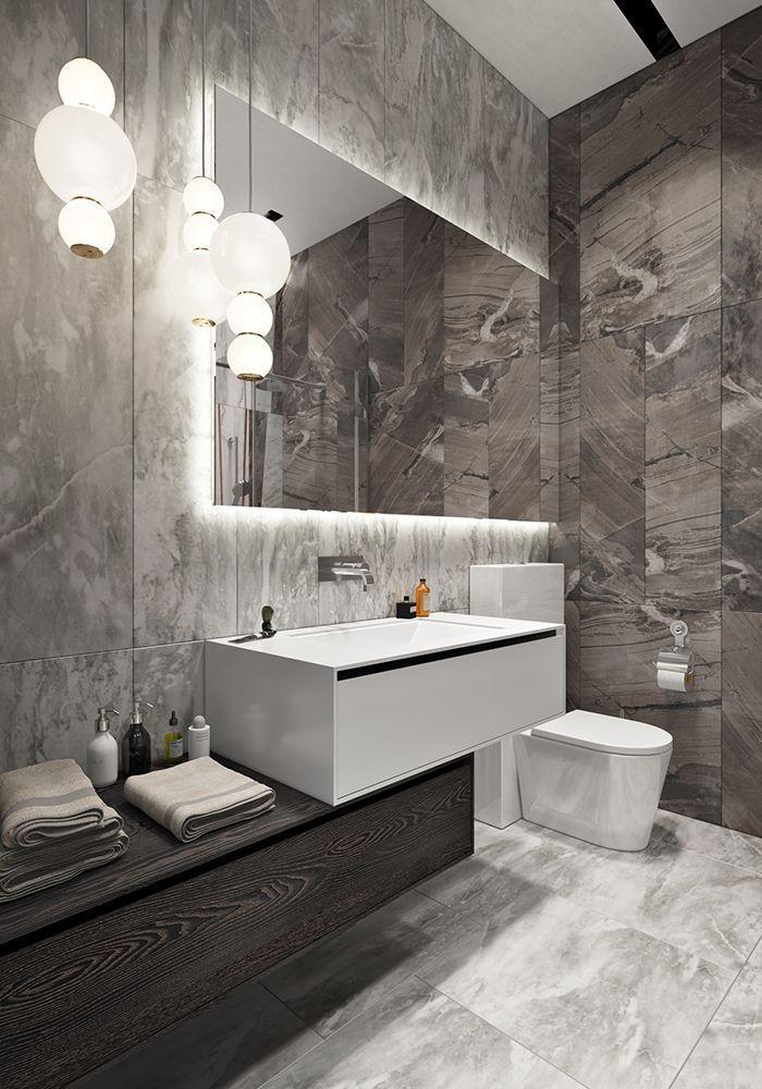 Belle salle d\'eau design avec grands carreaux texturés qui font ...