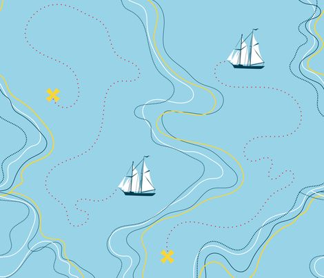 sailing for the treasure - blue fabric by ravynka on Spoonflower - custom fabric