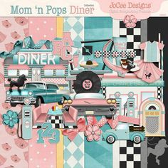 Mom 'n Pop's Diner will bring back your memories of the 1950's. Late night diners, truck stops, poodle-skirts, two-tone shoes, jukeboxes, records and much more. Scrap these wonderful memories with this fun collection containing many elements relating to this wonderful time. Designed in hues of pinks, blues and blacks with a touch of yellow there are 9 coordinating papers, 29 embellishments and an alpha with Upper Case letters, numbers and some punctuation.