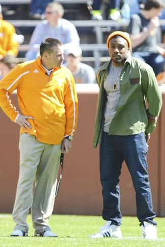 Coach Butch Jones and the VFL we all love, Eric Berry.  ~ Check this out too ~ RollTideWarEagle.com SEC Football stories that inform and entertain and Train Deck to learn the rules of the game you love. #Collegefootball Let us know what you think. #Vols #SEC #CFB