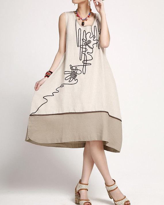 linen color dress Sleeveless linen color dress summer by MaLieb, $89.00