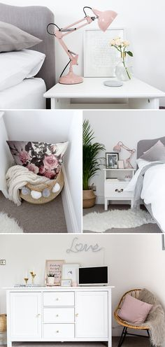 Blush, grey and white bedroom with faux sheepskin, rattan rocker chair, gold accents and upholstered bed from Loaf. Image by Little Beanies
