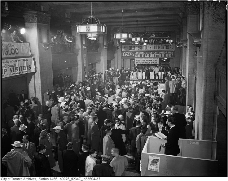 Grey Cup festivities in the lobby of the Fairmont Royal York, 1956.