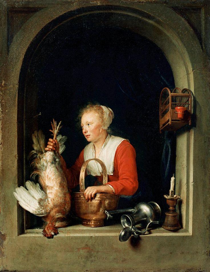 Gerrit Dou: Jonge vrouw met dode haan. Ook wel genoemd: de Hollandse huisvrouw. 1650. Louvre, Parijs. Dit is waarschijnlijk een dienstmeid. Ze houdt hier een pas gedode kip ondersteboven terwijl ze op een bronzen mand of vergiet leunt. Het lijkt erop dat ze een dienstmeid is in een rijk huishouden. Ze wordt echter geïdentificeerd als een huisvrouw.