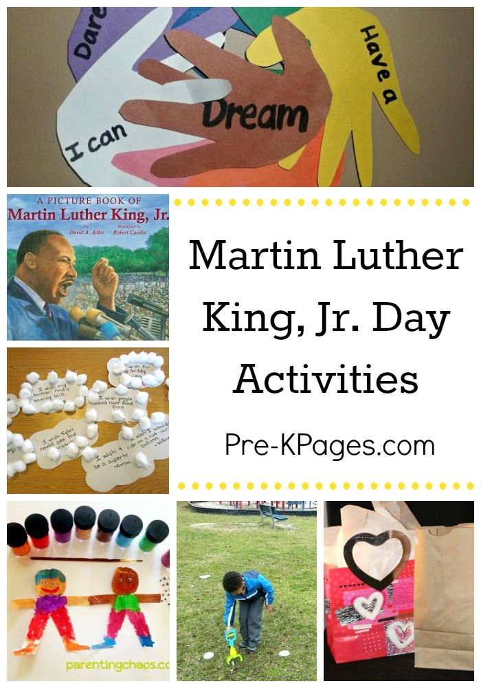 Activities for Celebrating the Life of Dr. Martin Luther King, Jr. in Preschool and Kindergarten.