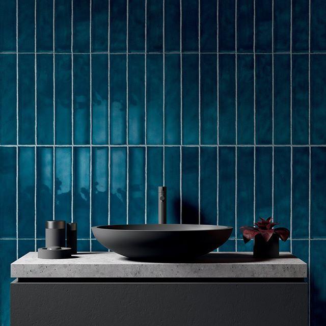 Amazing Deep Teal Bathroom Wall Tiles With A Dark Charcoal Grey Sink Fab Teal Bathroom Blue Bathroom Tile Bathroom Decor Colors