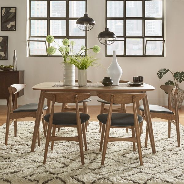 bring the beauty of beveled edges sleek angled legs and natural finishes to your mid century dream dining room with the norwegian danish modern dining set - Modern Dining Set