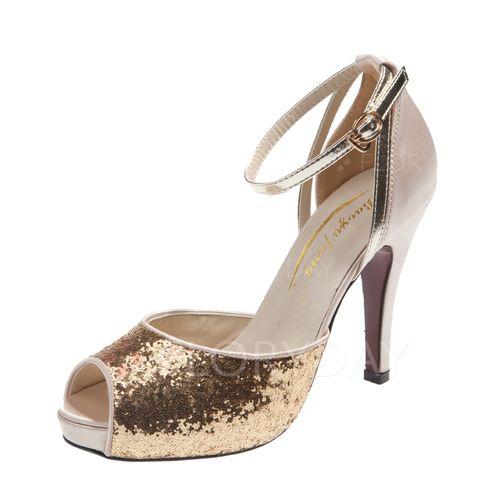 Zapatos - $34.44 - De mujer Sandalias Encaje Tacones Tacón stilettos Satén Brillo Chispeante Zapatos (1625101865)