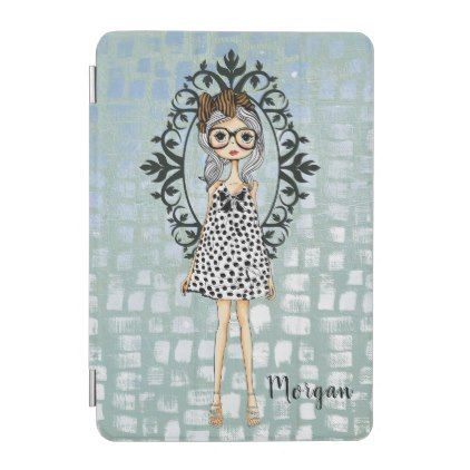Cute Hipster Girl with Glasses iPad Mini Cover - diy cyo customize create your own #personalize