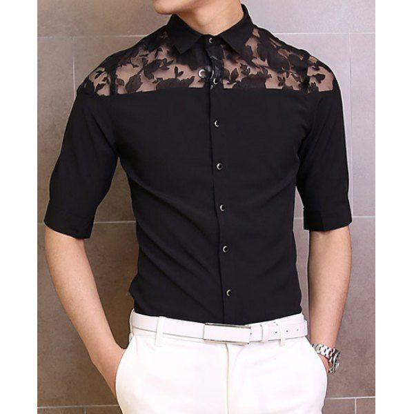 Fashion Lace Splicing Shirt Collar Three-Quarter Sleeve Slimming Cotton Shirt For Men, BLACK, XL in Shirts   DressLily.com