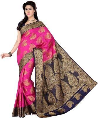 cfbc1c99ba9 Ishin Printed Fashion Polyester Saree(Pink