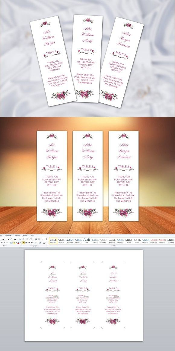 Photo Booth Place Card Template. Wedding Card Templates