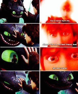I'm sorry but when I look at it now Toothless looks like he's trying not to laugh or something