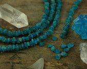 "Tropical Seas: Dark Apatite Rough Nugget Beads / 10 beads, 1 3/4"", 6x4mm / Deep Ocean Blue Natural Gemstone / Earthy Jewelry Making Supplies"