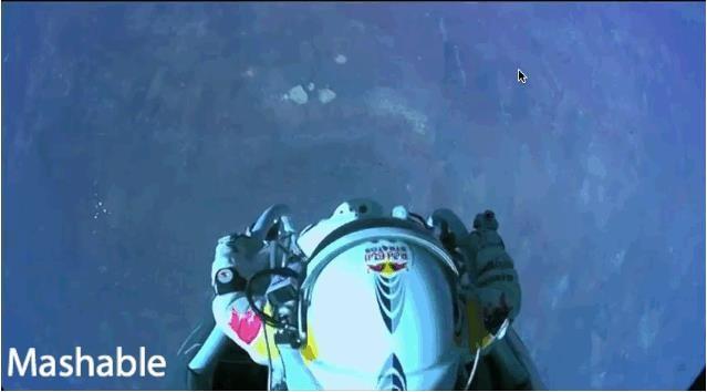 GIF animation of Felix Baumgartner's space jump - http://on.mash.to/V09R3r