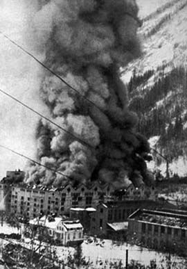 Burning buildings during the 16 November 1943 raid on Norsk-Hydro Vemork plant at Rjukan.    The Norwegian heavy water sabotage was a series of actions undertaken by Norwegian saboteurs during World War II to prevent the German nuclear energy project from acquiring heavy water (deuterium oxide), which could be used to produce nuclear weapons.