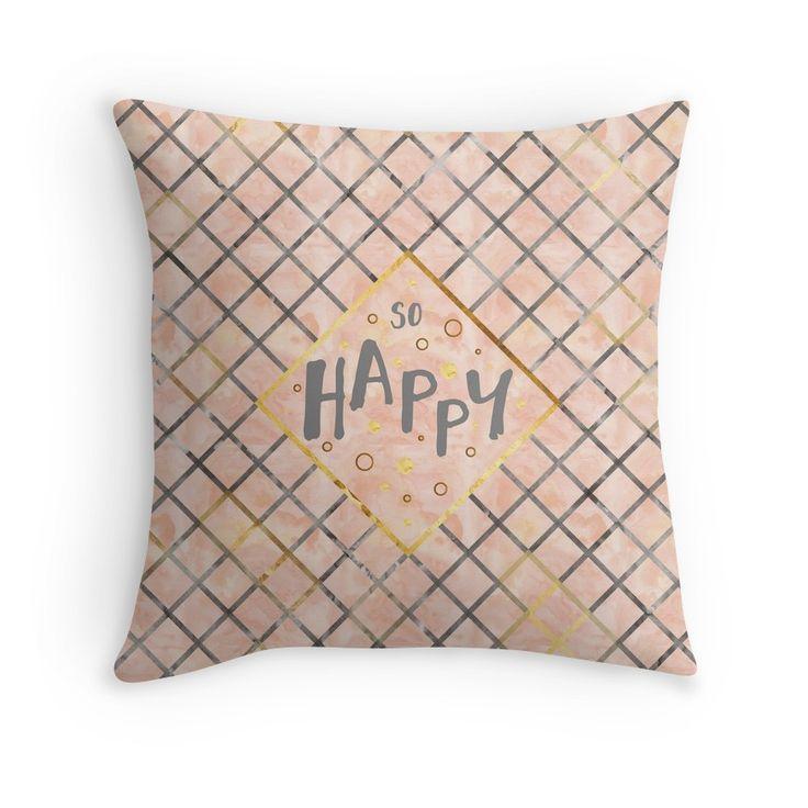 Text Art SO HAPPY | orange  #Kissen #pillow #cushion #modern #trendy #words #textart #text #Worte #Spruch #phrase #graphic #design #Grafik #Illustration #happy #happiness #glücklich #pattern #Muster #gold #orange #golden