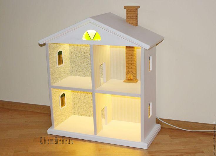 Купить Дом для кукол из дерева - деревянный игрушечный кукольный домик - белый…