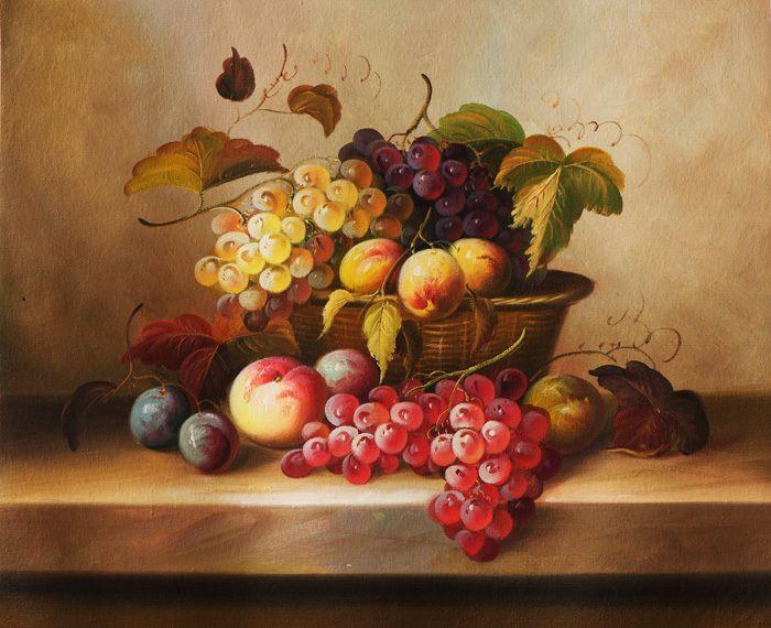 Envío gratis uva clásica cesta de frutas naturaleza impresiones de la lona pintura al óleo sobre lienzo arte de la pared decoration picture(China (Mainland))