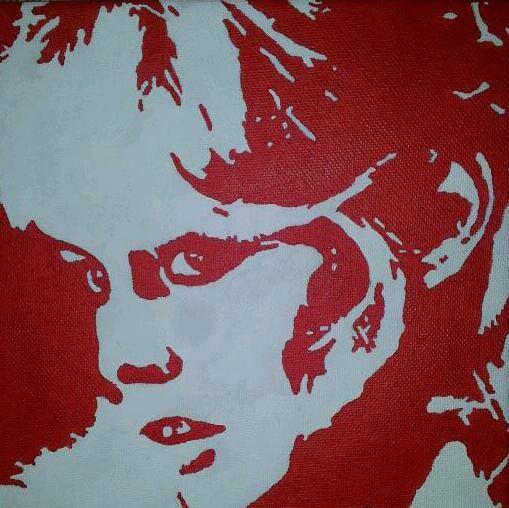 Brigitte Bardot in rood-wit op een doek van 20 X 20 cm.
