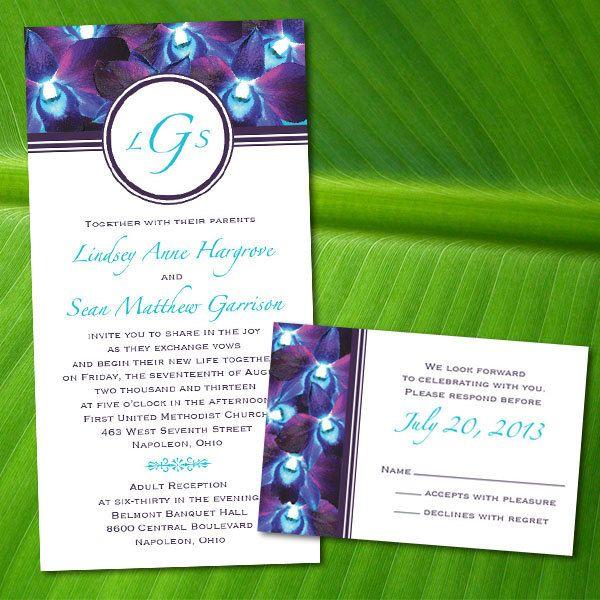 Custom Blue Orchid Wedding Invitations.